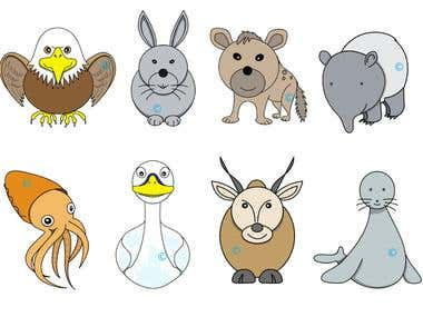 Animals in simple style