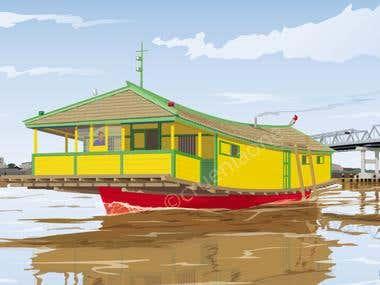 Kapal Bandong, vector Illustration