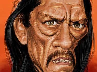 Caricature of Danny Trejo
