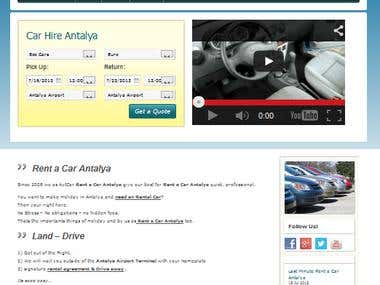 Car Rental Website in Wordpress