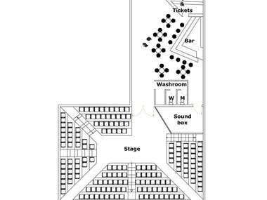 Black box theatre design and rendering.