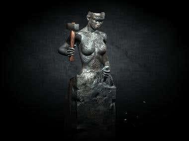 Live Female Statue
