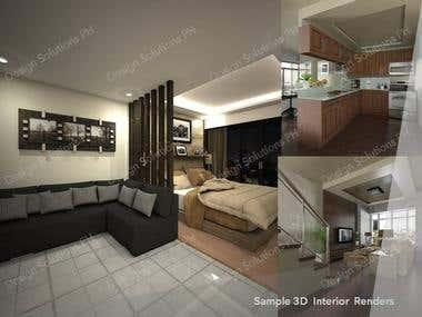 Sample Interior 3D Model & Renders
