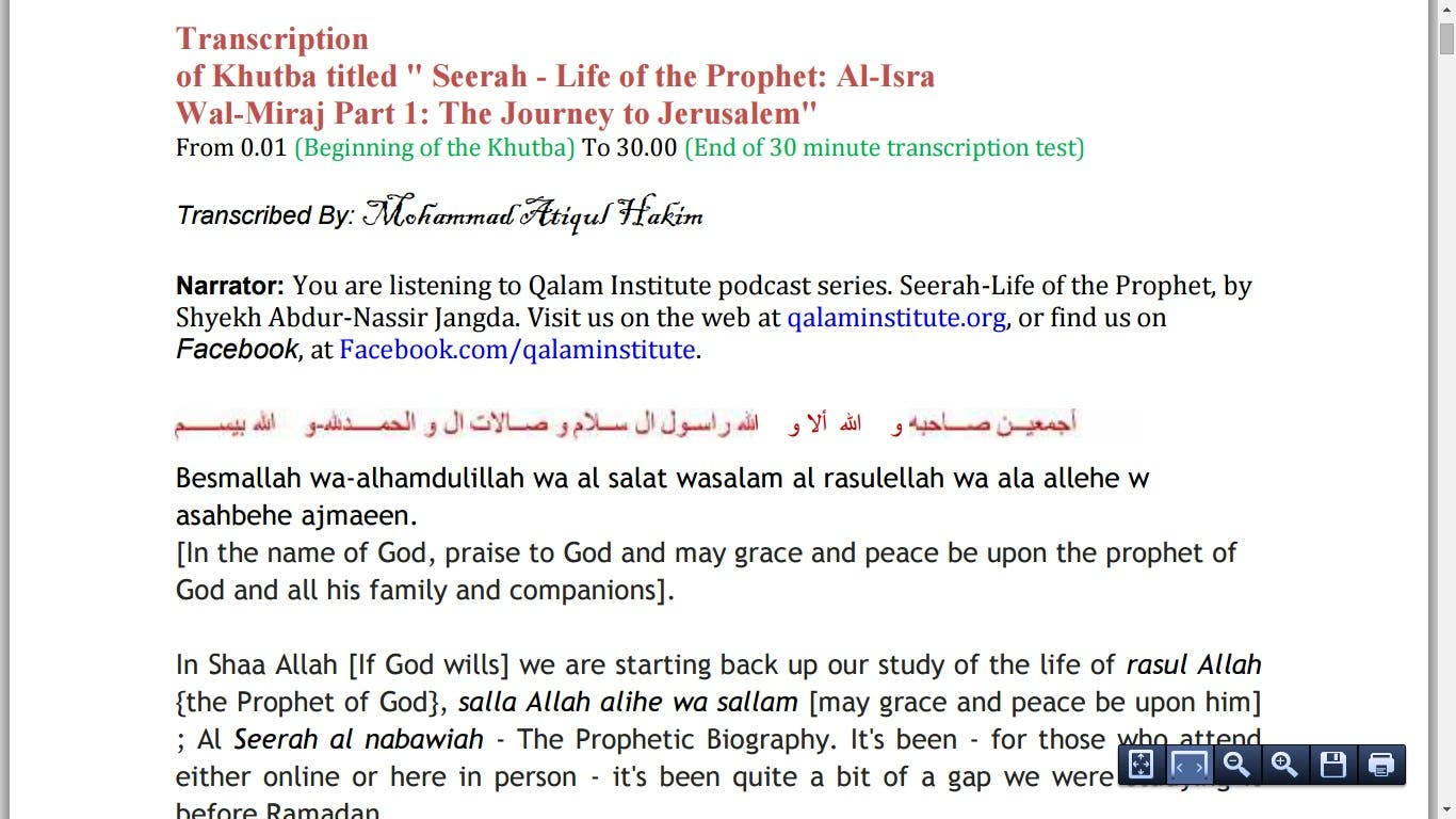 Transcription of Khutba