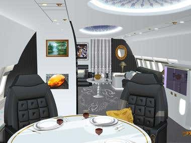 Private Jet Interior/ Each content created in Vector Art