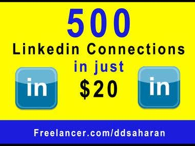 500 Real and Active Linkedin Connections in $20