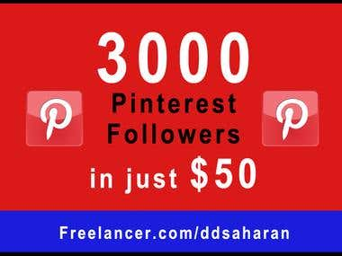 3000 Pinterest Followers in Just $50