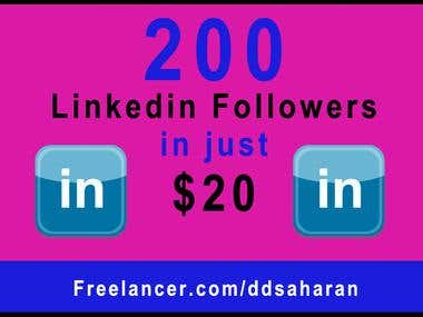 200 Linkedin Followers at Linkedin Business Page in just $20