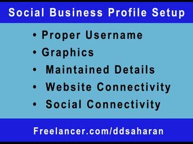Social Business Profile Setup on top 70 social networks