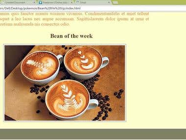 Bean Me Up(HTML and CSS)