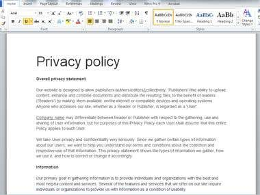 Privacy Policy for a document sharing website