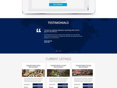 Home page for a brokers business