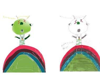 Digital child Illustrations