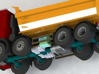 3D Modelling and Rendering of Hybrid Truck Engine