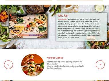 Home page design for online food delivery website