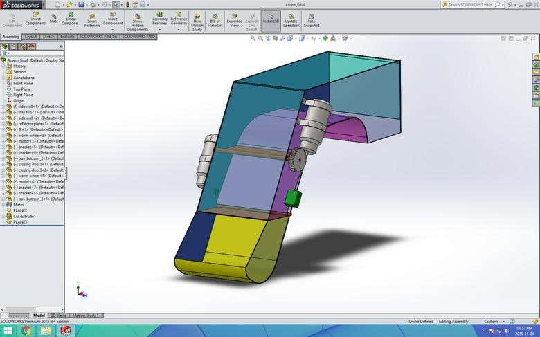 Solidworks design for vending machine chute door | Freelancer