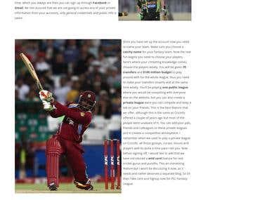 Sports Fantasy Website