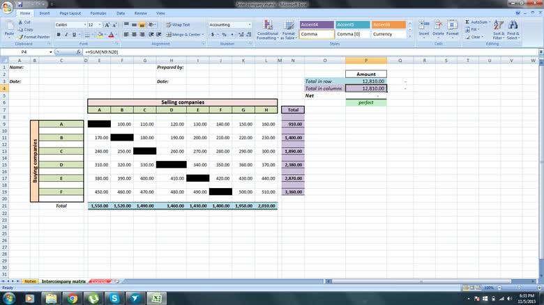 Desgin And Implement Formulas Via Excel Inter Company Matrix