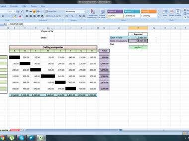 Desgin and implement formulas via excel Inter Company Matrix