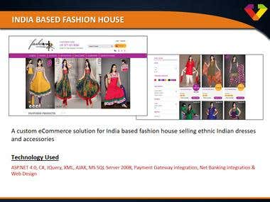 India based Fashion House - eCommerce