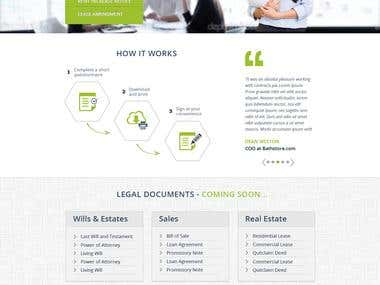 Home page for a pre-made legal-contracts website