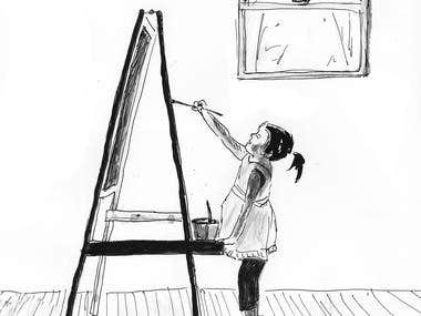 girl painting in winter time
