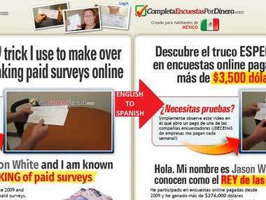 TakeSurveysForCash.com Website Eng-Spa Translation