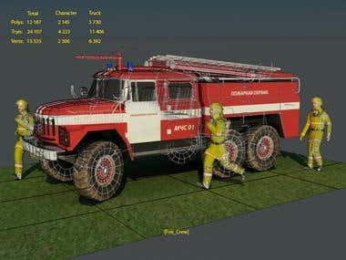 low-poly modeling (fire crew)