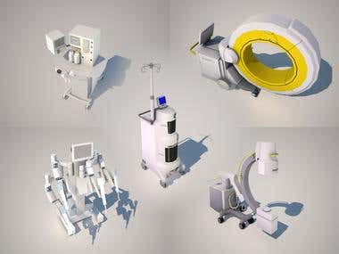 Low poly medical equipment