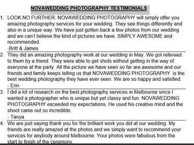 WEBSITE CONTENT: NOVAWEDDING PHOTOGRAPHY TESTIMONIALS