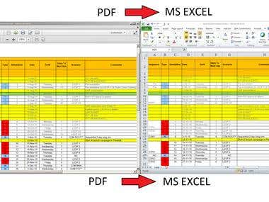 PDF to Excel conversion