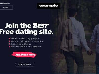 LGBT dating website landing page without logo