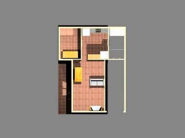 Modelo 3D de reforma de casa antigua como cede social