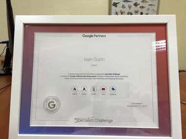 Winner of US Google 5pecialist Challenge