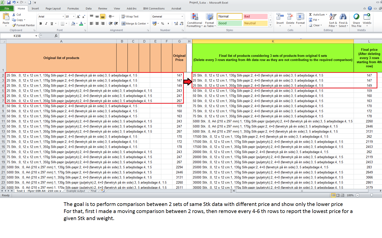 Data processing project in Excel