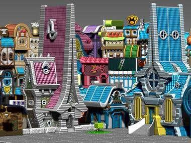 Cartoon city design