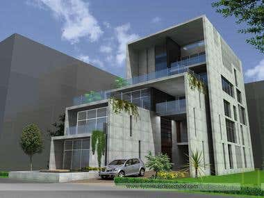 exterior view in 3D max
