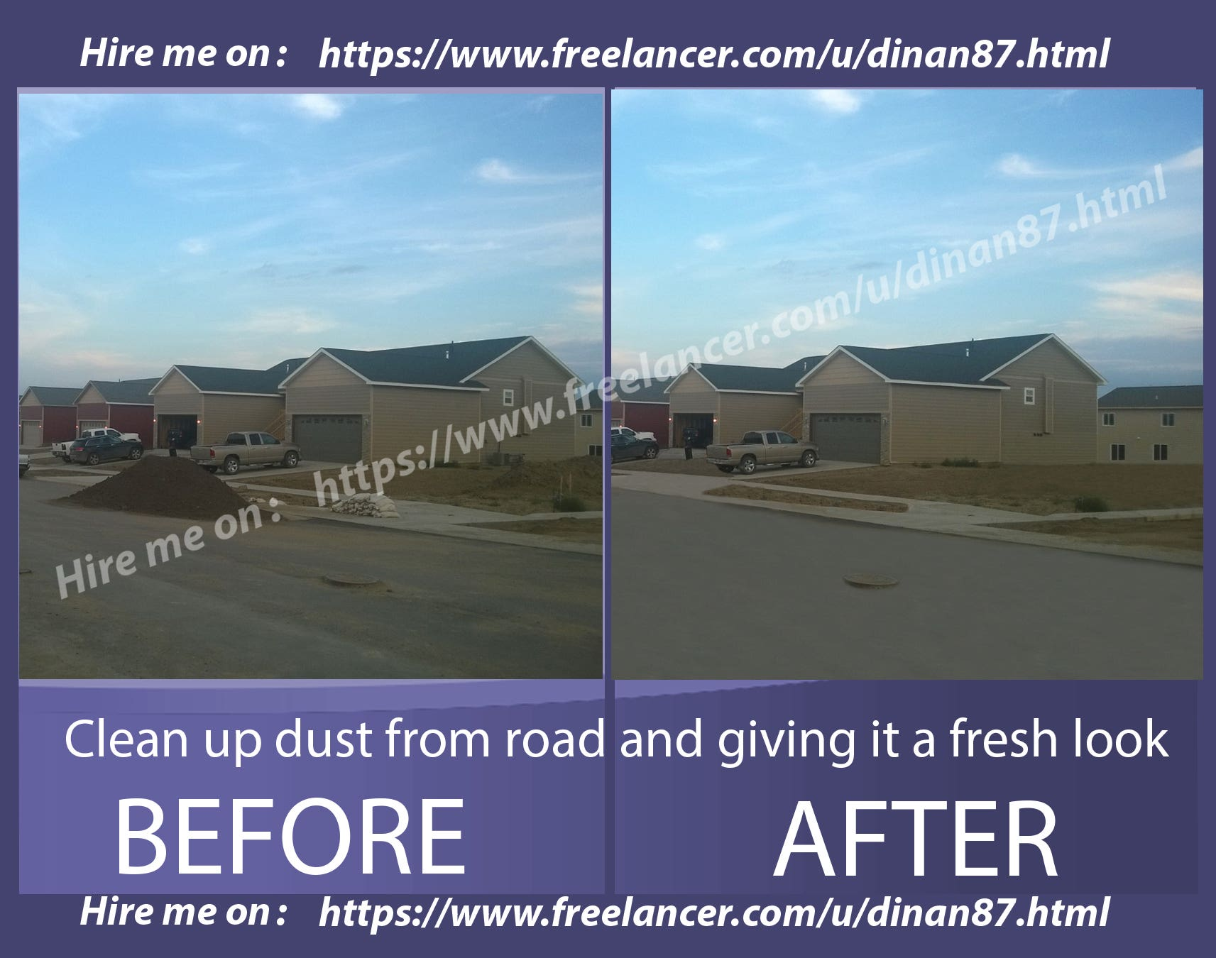 Clean up dust from road and gave it a fresh look(cloning)