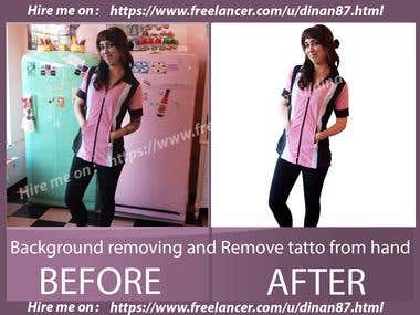 Background removing and Remove tatto from hand