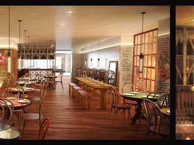 Bar Interior Rendering