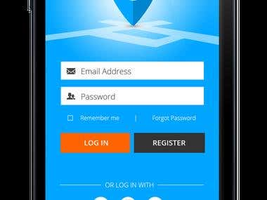 Mobile screens UI for personal security app