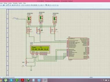 Proteus simulation for temperature sensosor