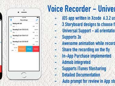 Voice Recorder - Universal iOS Application