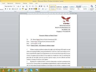 Persuasive memo for establishing fitness centre