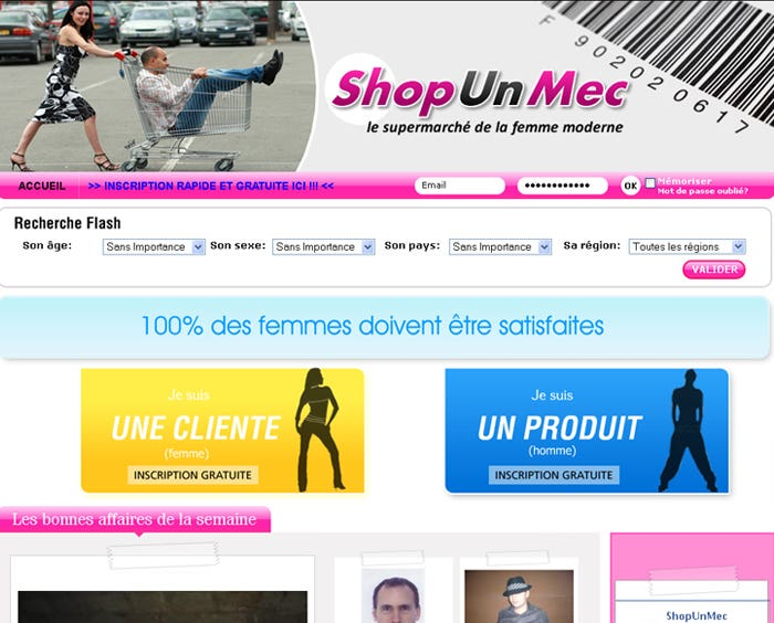 Website for Shop Un Mec (Shop a Guy)