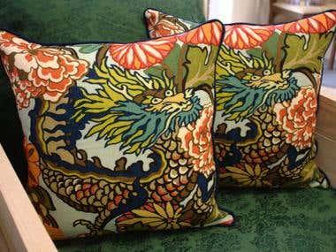 Designer Linen Dragon Pillows