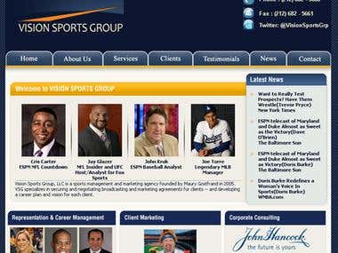 Website for Vision Sports Group