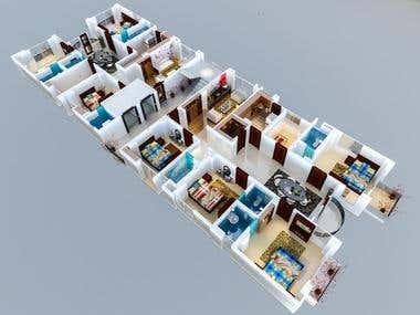 3D Floor Plan render.