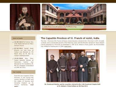 Website design for Capuchin Fathers in Kerala