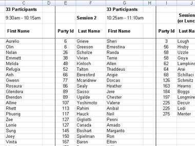 Schedule Classes in Excel